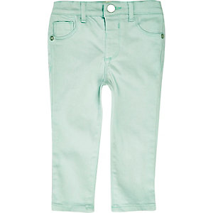 Mini girls light green skinny jeans