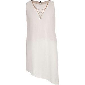Girls pink necklace asymmetric top