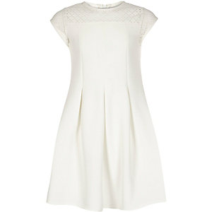 Girls cream lace neck skater dress