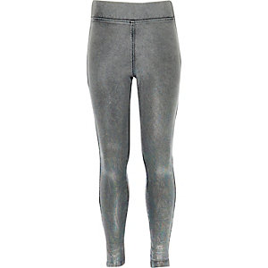 Girls grey denim leggings