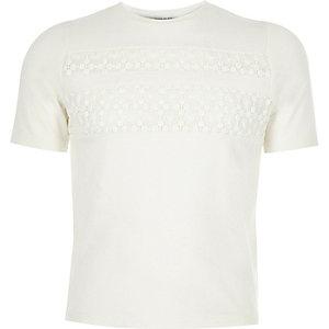 Girls white lace insert t-shirt