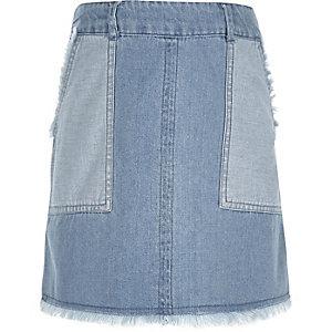 Girls blue denim frayed hem skirt
