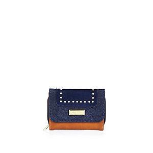 Girls blue denim fold out purse