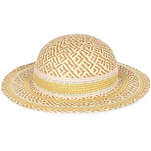 Girls pink straw hat