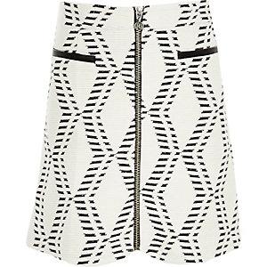 Girls white geometric zip-up skirt