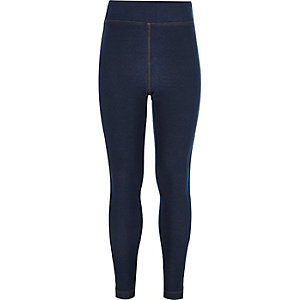Girls dark wash denim high waisted leggings