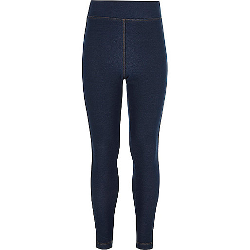 Girls dark wash denim high waisted leggings