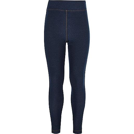 Legging en jean délavage foncé à taille haute pour fille
