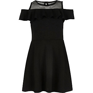 Girls black bardot frill dress