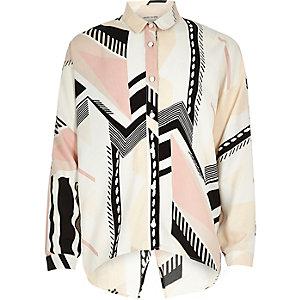 Girls pink geometric pattern split back shirt