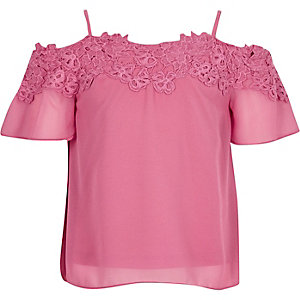 Girls pink lace bardot cami top