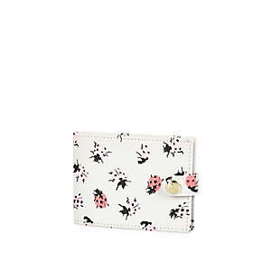 Girls white ladybird print card holder