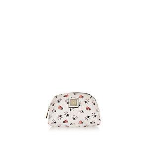 Girls grey ladybird print make up bag