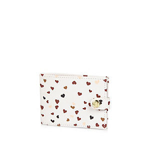 Girls cream heart print card holder