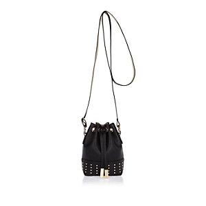 Girls black studded bucket handbag