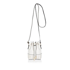 Girls white studded bucket handbag