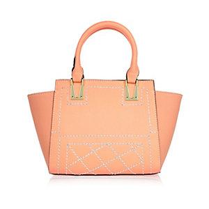 Girls peach orange winged tote handbag