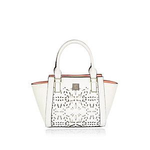 Girls white laser cut winged handbag