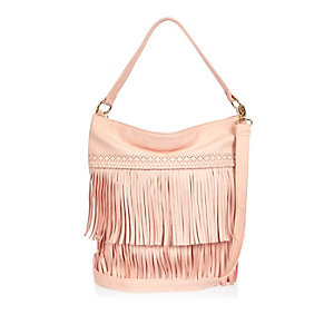 Girls pink fringed slouchy handbag