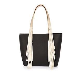 Girls black fringed shopper handbag
