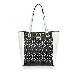 Girls black laser cut shopper handbag
