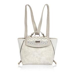 Girls grey winged 2-in-1 backpack handbag