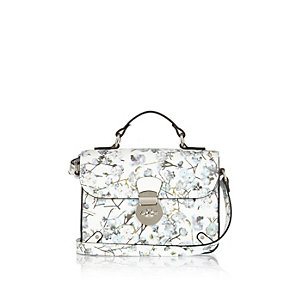 Girls white floral print satchel bag