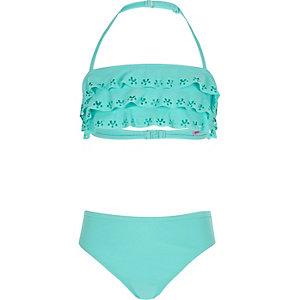 Girls turquoise frilly bikini