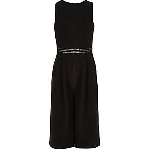 Girls black lace insert culotte jumpsuit