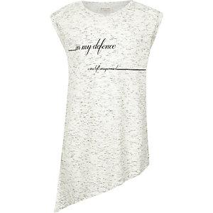 Girls grey slogan print asymmetric top