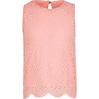 Girls pink lace scallop hem tank top