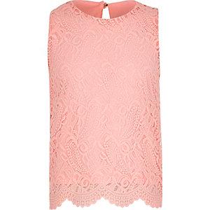 Girls pink lace scallop hem tank top
