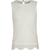 Girls cream lace sleeveless top
