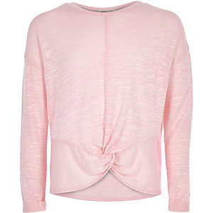 Girls pink knot front top
