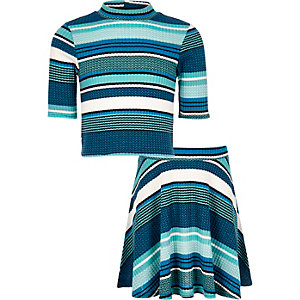 Girls blue stripe top skirt co-ord outfit