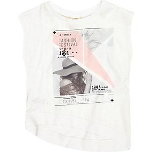 Mini girls white fashion print t-shirt