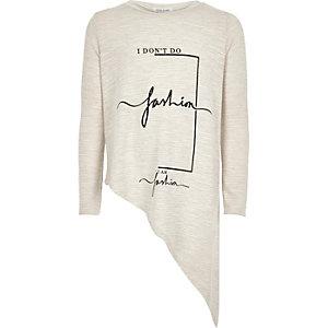 Girls beige fashion print asymmetric top
