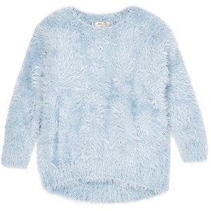 Mini girls blue long sleeve eyelash sweater
