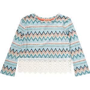 Mini girls blue zig zag crochet hem top