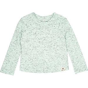 Mini girls green long sleeve top