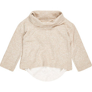 Mini girls cream slouchy hybrid roll neck top