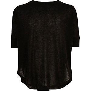 Girls black knitted circle t-shirt