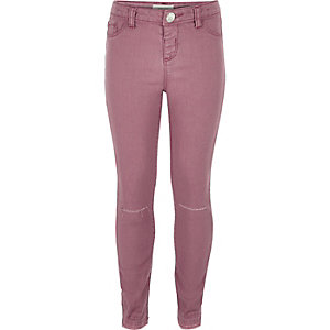 Girls pink ripped knee jeggings