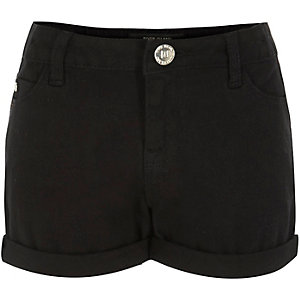 Girls black denim turn-up shorts