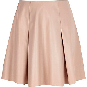 Girls pink leather-look pleated skater skirt