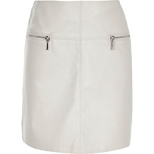 Girls grey leather look skirt