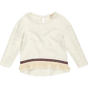 Mini girls cream fringed sweater