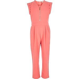 Girls pink zip-up jumpsuit