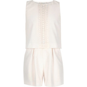 Girls cream double layer playsuit