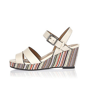 Girls cream stripe wedges